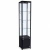 400mm wide Freestanding Glass Cabinet with Storage in Black - FWC-400