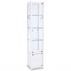 400mm wide Freestanding Glass Cabinet with Storage in White - FWC-400