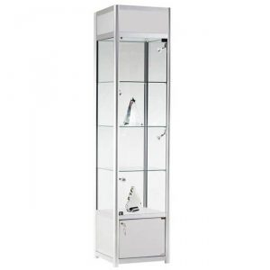 400mm wide Feestanding Cabinet with Storage in Silver - FWC-TC-400