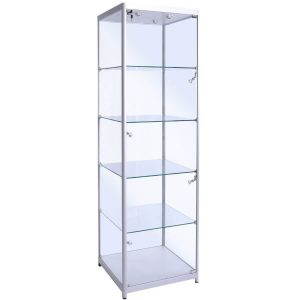 500mm wide glass display cabinet in Silver - F-500