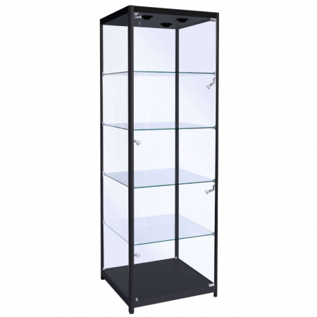 500mm wide glass display cabinet in Black - F-500