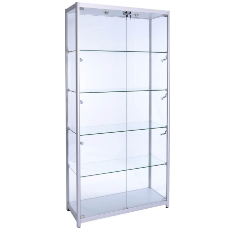 800mm wide Glass Display Cabinet in Silver - F-800