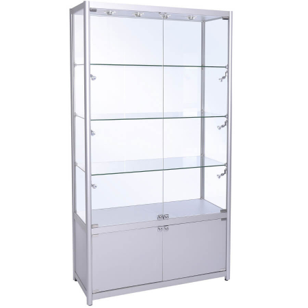 1200mm wide Trophy Cabinet with Storage in Silver - FWC-1200