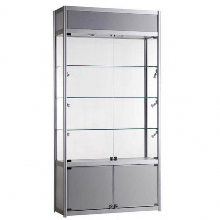 1000mm wide Freestanding Display Cabinet with Storage in Silver - FWC-TC-1000