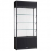 1000mm wide Freestanding Display Cabinet with Storage in Black - FWC-TC-1000