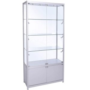 1000mm wide Freestanding Display Cabinet with Storage in Silver - FWC-1000