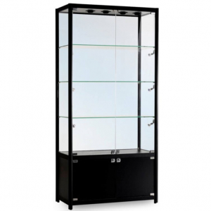 1000mm wide Freestanding Display Cabinet with Storage in Black - FWC-1000