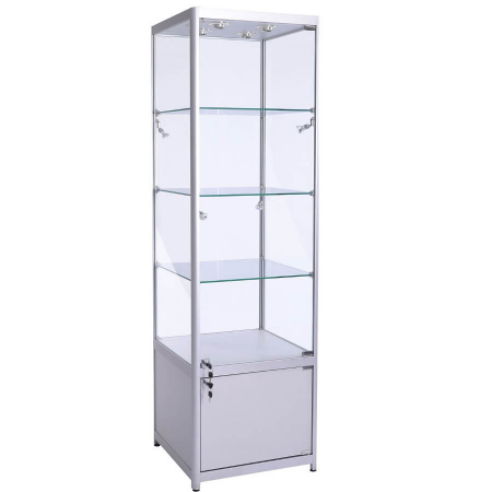 600mm wide Glass Cabinet with Cupboard in Silver - FWC-600