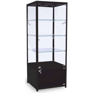 600mm wide Glass Cabinet with Cupboard in Black - FWC-600