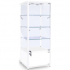 600mm wide Glass Cabinet with Cupboard in White - FWC-600