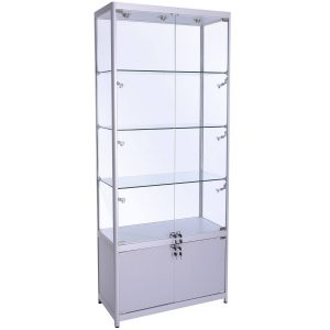 800mm wide Freestanding Display Cabinet with Storage in Silver - FWC-800