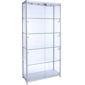 1000mm wide Freestanding Glass Display Cabinet in Silver - F-1000