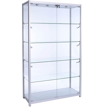 1200mm wide Glass Retail Display in Silver - F-1200