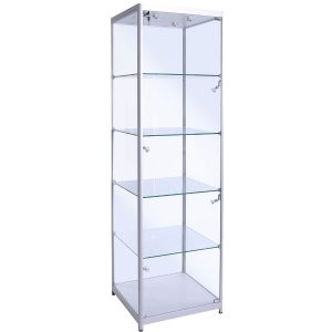 600mm wide Freestanding Glass Cabinet in Silver - F-600