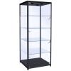 600mm wide Freestanding Glass Cabinet in Black - F-600