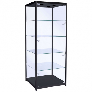 600mm wide Freestanding Glass Cabinet in Black - F-600