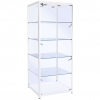 600mm wide Freestanding Glass Cabinet in White - F-600