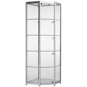 Freestanding Corner Glass Display Cabinet in Silver - FCO1