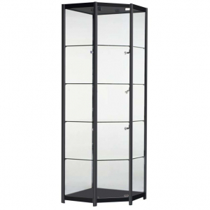 Freestanding Corner Glass Display Cabinet in Black - FCO1