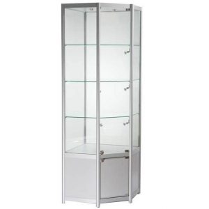 Freestanding Corner Glass Display Cabinet in Silver - FWCCO1