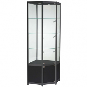 Freestanding Corner Glass Display Cabinet in Black - FWCCO1