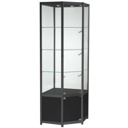 Freestanding Corner Glass Display Cabinet in Black - FWCCO1