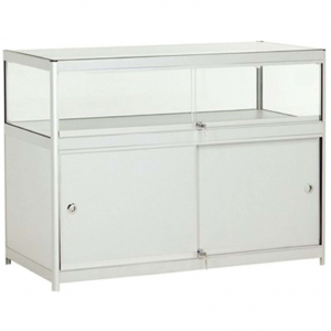 1200mm wide Glass Display Counter in Silver - C1