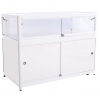 1200mm wide Glass Display Counter in White - C1