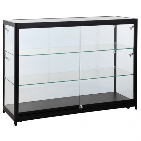 1200mm wide Glass Display Counter in Black - C3