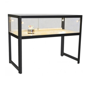 1200mm wide Glass Display Counter in Black - EC1N