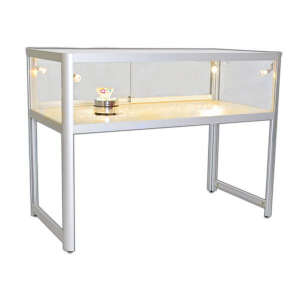 1200mm wide Glass Display Counter in Silver - EC1N