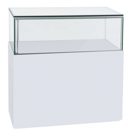 1200mm wide Premium Glass Display Counter in High Gloss White - GC-1200