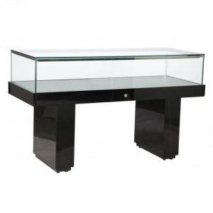 Premium Glass Display Counter in High Gloss Black - LEDC-1500