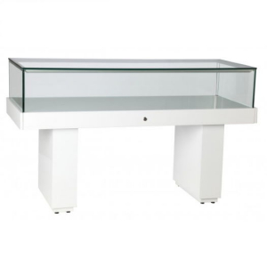 Premium Glass Display Counter in High Gloss White - LEDC-1500