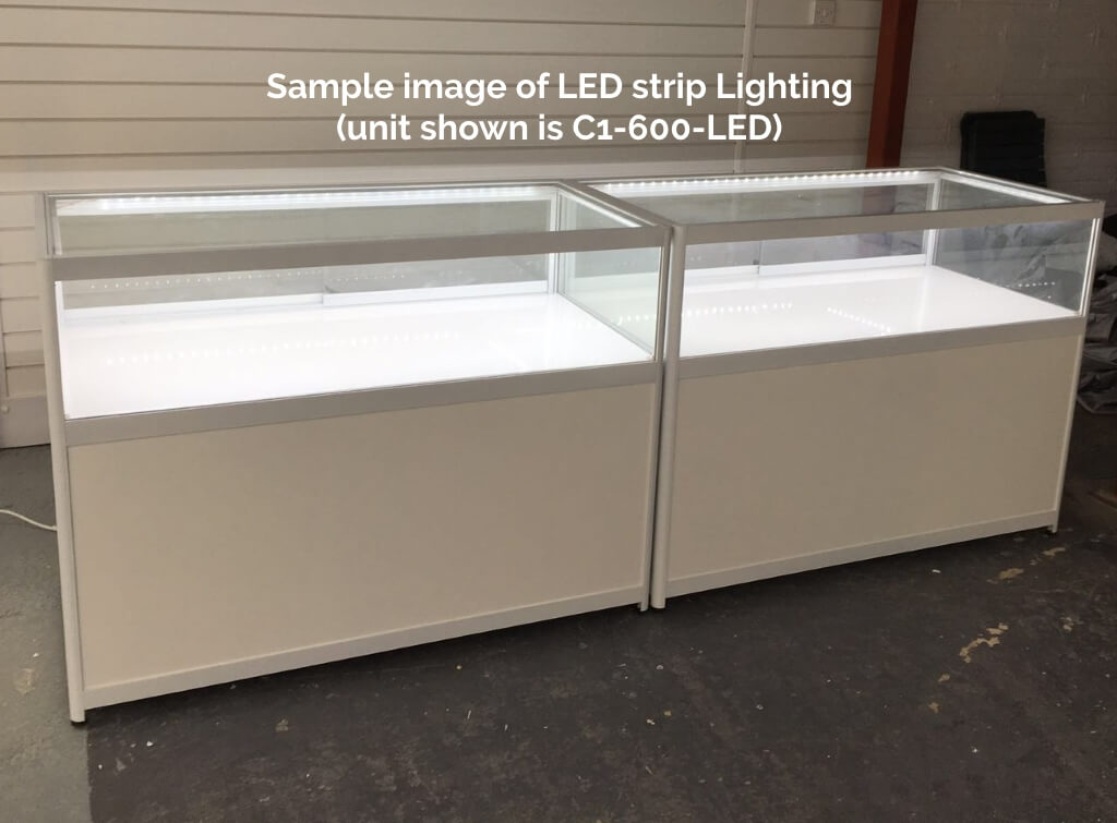 1200mm W Glass Counter Display Case Led Strips C1 400 Led