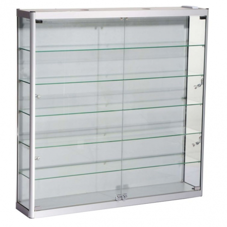1200mm wide Wall Mounted Display Cabinet in Silver - WM12-12