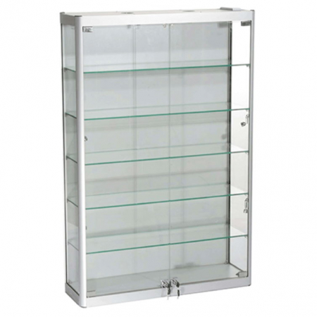 800mm wide Wall Mounted Display Cabinet in Silver - WM8-12