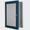 exterior lockable felt notice board - gentian blue