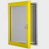 exterior lockable felt notice board - rape yellow