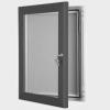 exterior lockable felt notice board - slat grey