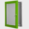 exterior lockable felt notice board - traffic green