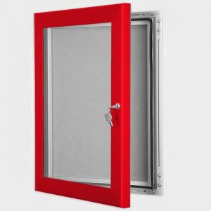 exterior lockable felt notice board - traffic red