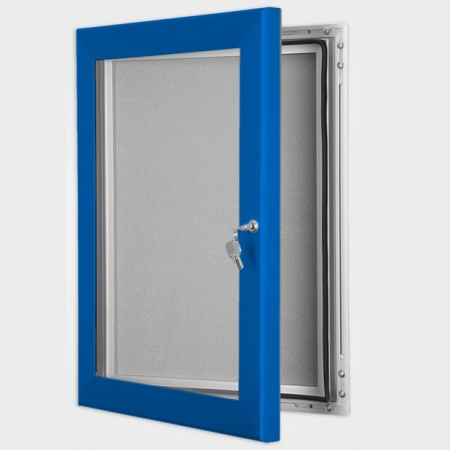 exterior lockable felt notice board - ultramarine blue