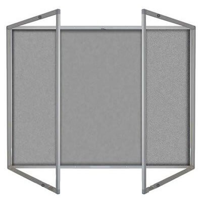 Lockable felt notice board - Double door - Silver