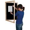 Lockable felt notice board - Single door with wood frame - Black