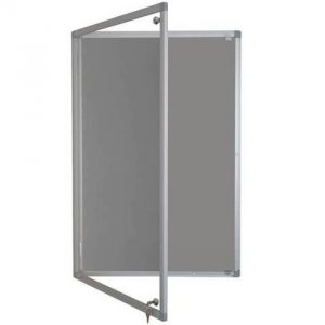 lockable felt notice board - silver