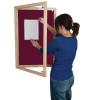Lockable felt notice board - Single door with wood frame - Burgundy