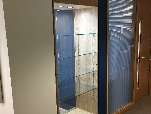 Built in custom glass display cabinet – Acacia Mining