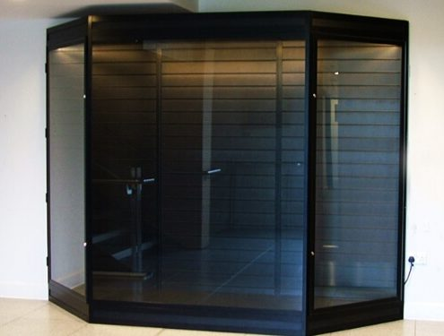 Custom glass cabinet with anti-bandit glass