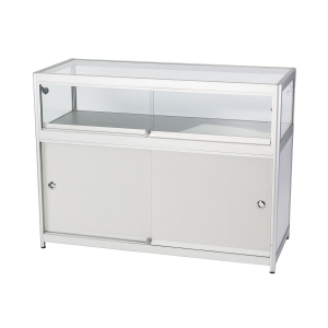 LC01 glass counter display hire - front